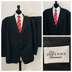 Varteks Suit Mens 62S 58W 29L Grey Faint Check Plaid Formal Business  OR659