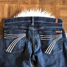 7 For All Mankind Sz 31 Dojo Flip Flop Flare Jeans Dark Blue Wash