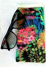 Midnight Garden Glasses Case Handmade Cotton Soft Padded Sunglasses Snap Close