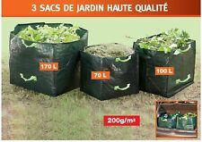 Lot de 3 sacs de jardin avec poignées (70L - 100L - 170L) *NEUF*