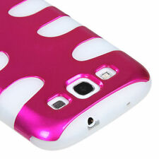 Samsung Galaxy S III 3 Hybrid FISHBONE Rubber Case Phone Cover Rose Pink White
