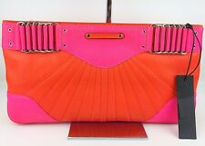 Rebecca Minkoff Collection Park Avenue Neon Pink & Coral Leather Clutch - $495