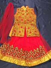 "18"" Age 1 Size Lahenga Choli Indian Bollywood Kids Dress Girls Skirt Pink Gold"