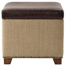 Square Shape Storage Ottoman Footrest Brown Leather With Burlap Lid flips Open