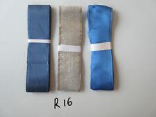 R16 Job Lot 3 Ribbons, Silver Colour & Blues