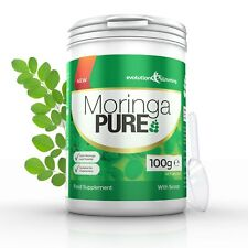 Moringa Pure 100% Pure Organic Powder Health Fitness 100g Tub Evolution Slimming