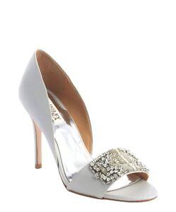 NIB Badgley Mischka Alessandra Silk wedding bridal open toe pump heels shoes 9,5