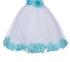 Rose Petals Lace Heart Cutout Flower Girl Dresses Birthday Girl Dresses 185T
