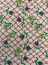 Vintage 30's 40's Feedsack Fabric Floral Tulips Dandelions Lattice Pristine!