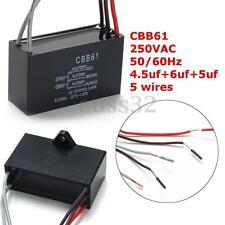 Black CBB61 4.5uF+6uF+5uF 5 WIRE 250VAC 50/60Hz Ceiling Fan Capacitor 5 Wires