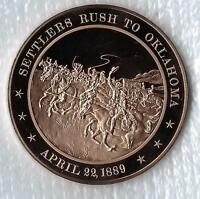 +1889 Oklahoma Land Rush - Solid Bronze Franklin Mint Commemorative Medal