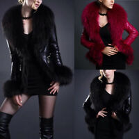 Womens Oversized Winter PU Leather Faux Fur Parka Jackets Outwear Trench Coats