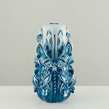 Hand Carved Candles Teal Blue Different Sizes 11-20 CM Colorful Decoration