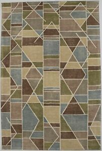 Contemporary Geometric Style 5X8 Modern Hand-Tufted Area Rug Décor Wool Carpet