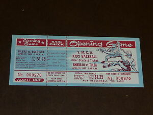 1963 TULSA OILERS OPENING  BASEBALL FULL TICKET TEXAS LEAGUE CARDINALS AFFILIATE