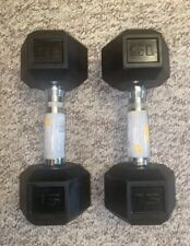 NEW! CAP 15 LB Pair of Coated Hex Dumbbell Weights (30lb Total)