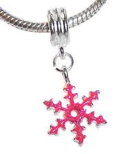 Christmas Pink Snowflake Enamel Holiday Dangle Bead for European Charm Bracelets