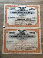 2 Lot Emma Louise Art Shop Company Stock Certificate 1920
