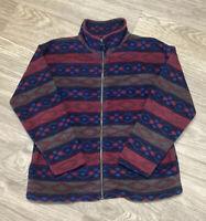 Lavon Women's Size Petite M Aztec Style Full Zip Fleece Jacket w/pockets Comfy