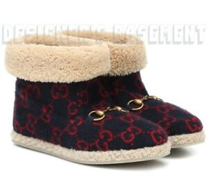 GUCCI blue 38.5 red GG wool FRIA Shearling HORSEBIT ankle boots NIB Authent $890