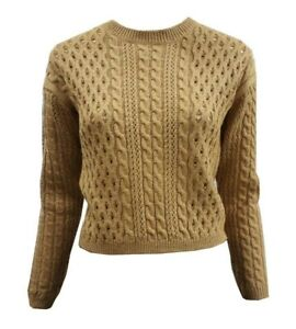 Women Ladies ex M&S camel cable short jumper with button back