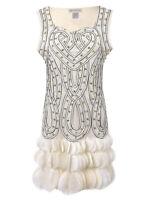 Womens Sleeveless Glam Beaded Heart Petal Hem Flapper Inspired Mini Party Dress