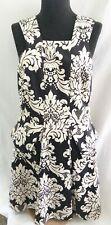 Robert Rodriguez Black & Cream Floral Peplum Sleeveless Dress - Size 10
