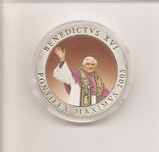 Farb-Medaille - BENEDICTVS XVI  Vatikan 2005 PP 40 mm super