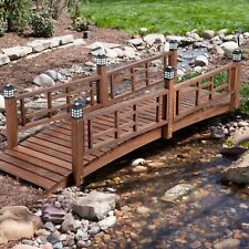 Brown Finish Wood 8 Foot Garden Bridge Led Lights Outdoor Yard Lawn Landscaping