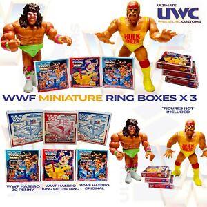 WWF Hasbro Wrestling Ring Miniature Repro Box x 3 Blue Red King Ring WWE WCW
