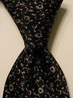 STEFANO RICCI Men's Silk XL Necktie ITALY Luxury FLORAL Black/White Skinny EUC