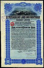 St Petersburg Land & Mortgage Co. Ltd., £100 debenture, 1912, Waterlow printing