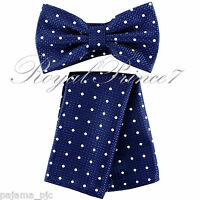 BT609 Microfiber Polka Dot Pre-tied Bowtie And Pocket Square Hanky Wedding Prom