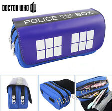 Doctor Who Pupil Pencil Pen Case Cosmetic Bag Double layer Coin Zipper Pouch
