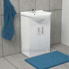 550mm Bathroom Cloakroom Gloss White Vanity Unit and Ceramic Basin