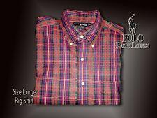 Ralph Lauren Men's BIG SHIRT Large Red Plaid w/ Black Pony SIZE 16.5 x 32 LG
