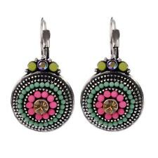 Multi Color Lucite Bead Antique Look Silver Tone Circle Dangle Hook Earring