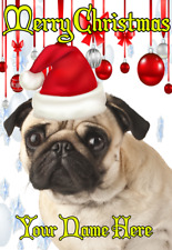 Pug Dog ptcc195 Santa Hat Christmas Card Xmas A5 Personalised Greetings Card