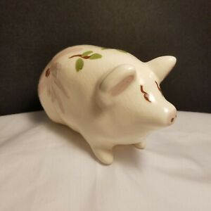 Pottery Pig Vintage Bank Hand Painted Single Use Small Collector Item Big Flower