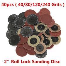40PCS 2'' inch 40/80/120/240 Grits Roll Lock Sanding Disc Sandpaper for Abrasive