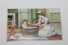 "VINTAGE EARLY 1900'S ""BABY'S BATH"" EMBOSSED POSTCARD"