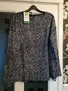 JOULES MARINA SPECKLE PRINT JERSEY TOP. BNWT. COLOUR. NAVY AND CREAM. SIZE. 14