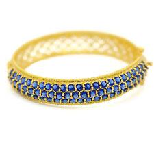 Sapphire Cubic Zirconia 18k 22k 24k Yellow Gold Plated Bangle Bracelet Jewelry