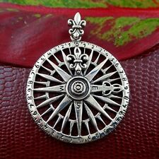 Men's Compass Pendant Sterling Silver Necklace Nautical Jewelry Boating Gift