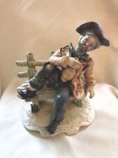 CAPODIMONTE LARGE TRAMP ON BENCH Porcelain Figurine Tramp Lounging on Bench