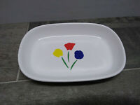 Vintage Pfaltzgraff United Airlines 1st Class Dish Plate Side Kick Flowers Kids
