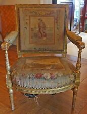 Antique French Petit Point Seat Cushion Back And Armrests Period Louis XVI