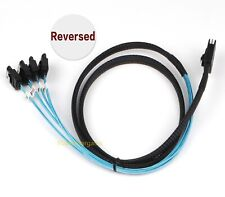 Mini SAS 4i 36Pin SFF 8087 to 4 SATA 7Pin Reverse With Latch Cable 100cm New