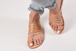 Ancient Greek style real natural leather sandals handmade slide strappy thong