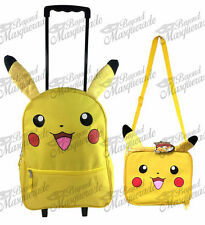 """16"""" Pokemon Pikachu Large Yellow Rolling Backpack with Matching Lunch Bag (2pc)"""